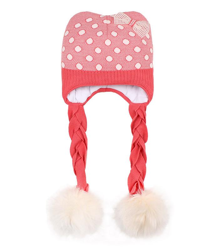 Шапка для девочки с меховым помпоном (48/50, розовая)